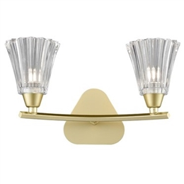Hull Lighting FL2377-2 Clemmy Double Wall Light in Matt Gold Finish.