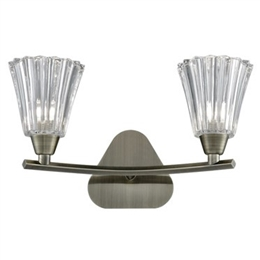 Hull Lighting FL2378-2 Clemmy Double Wall Light in Bronze Finish.