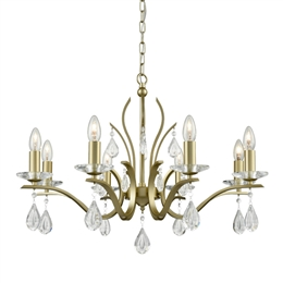 Franklite FL2384/8 Willow 8 Light Ceiling Pendant in Matt Gold finish