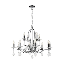 Franklite FL2403/12 Willow 12 Light Ceiling Pendant in Chrome finish.
