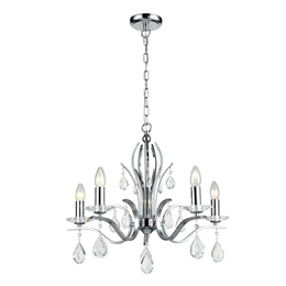 Franklite FL2403/5 Willow 5 Light Ceiling Pendant in Chrome finish
