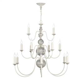 David Hunt FLE1512 Flemish 12 Light Pendant in Powder Grey Finish.
