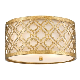 Elstead GN/ARABELLA/F 2 Light Flush Mount in Distressed Gold Finish