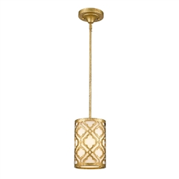 Elstead GN/ARABELLA/MP 1 Light Mini Pendant in Distressed Gold Finish