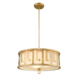 Elstead GN/LEMURIA/P/L 3 Light Pendant in Rich Distressed Gold Finish