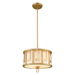 Elstead GN/LEMURIA/P/M 2 Light Pendant in Rich Distressed Gold Finish
