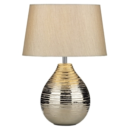 Dar Lighting GUS4032 Gustav Silver Small Table Lamp With Shade.
