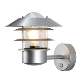 Elstead HELSINGOR PIR Exterior Wall Lantern in Silver Finish