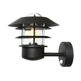 Elstead HELSINGOR PIR BK Exterior Wall Lantern in Black Finish