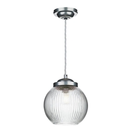 David Hunt HEN0146 Henley Pendant in Satin Chrome with Reeded Glass