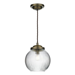 David Hunt HEN0175 Henley Pendant in Antique Brass with Reeded Glass