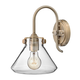 Elstead HK/CONGRES1/A BC Congress Clear Glass Wall Light in Brushed Caramel finish