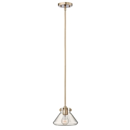Elstead HK/CONGRESP/A BC Single Light Pendant in Brushed Caramel finish with a Clear Glass Shade