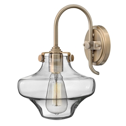 Elstead HK/CONGRESS1/B/BC Congress Clear Glass Wall Light in Brushed Caramel finish
