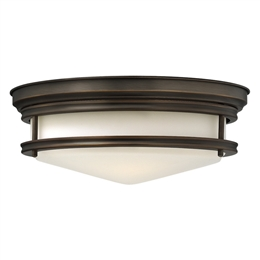 Elstead HK/HADLEY/F OZ Hadley 3 Light Flush Ceiling Fitting in Oil Rubbed Bronze Finish