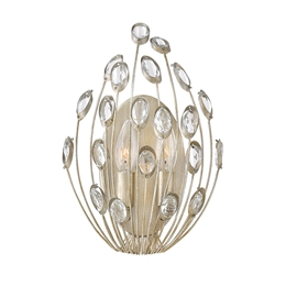 Elstead HK/TULAH2 Tulah 2 Light Crystal Wall Light in Silver Leaf finish.