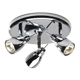 Dar Lighting HOU7650 Houston 3 light Ceiling Spotlight in Polished Chrome finish