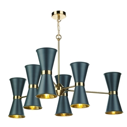 David Hunt HYD1223 Hyde 12 Light Pendant in Smoke Blue finish.