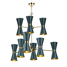 David Hunt HYD1823 Hyde 18 Light Pendant in Smoke Blue finish.