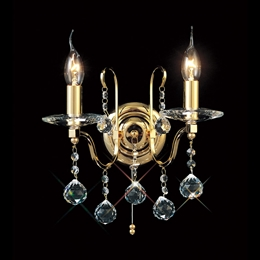 Diyas IL30212 Bianco Crystal Wall Light in Gold Finish.