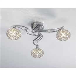Diyas IL30953 Leimo 3 light Ceiling Fitting in Polished Chrome finish.