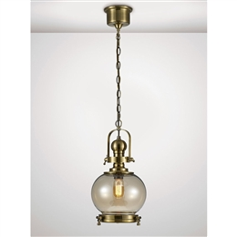 Diyas IL31596 Riley Single Light Small Glass Lantern in Antique Brass Finish
