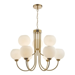 Dar Lighting IND1335 Indra 9 Light Pendant in Brass Finish with Opal Glass