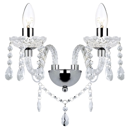 Dar KAT0950 Katie 2 Light Polished Chrome Wall Light