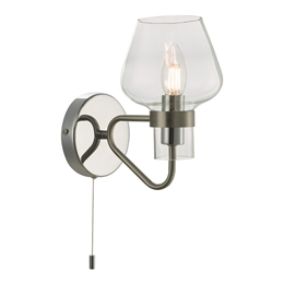 Dar Lighting KET0746 Keta Single Wall Light in Satin and Polished Chrome finishes