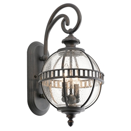 Elstead Lighting KL/HALLERON/2S 2 Light Wall Lantern with Clear Seeded Glass.