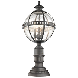 Elstead Lighting KL/HALLERON/3M 3 Light Pedestal Lantern with Clear Seeded Glass.