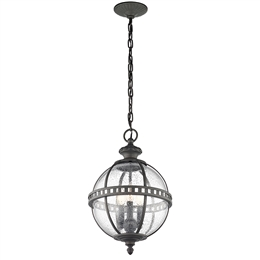 Elstead Lighting KL/HALLERON/8M 3 Light Chain Lantern with Clear Seeded Glass.