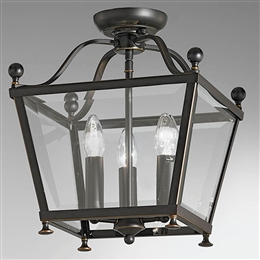Hull Lighting LA7004/3 Atrio 3 Light Lantern in Antique Bronze Finish.