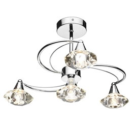 Dar Lighting LUT0450 Luther Chrome 4Lt Ceiling Light..