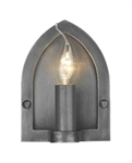 David Hunt Lighting LW8 Lindisfarne 1 Light Antique Pewter Wall Bracket.