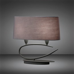 Mantra M3683 Lua 2 Light Table Lamp in Ash Grey Finish.