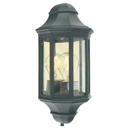 Elstead M8/2 MINI BLACK Malaga Flush Half Lantern in Black finish.