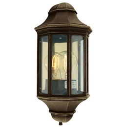 Elstead M8/2 MINI BLK/GOLD Malaga Flush Half Lantern in Black/Gold Finish.