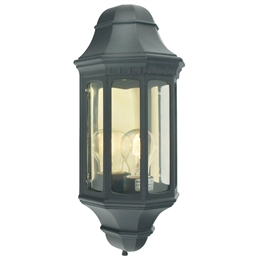 Elstead M8 BLACK Malaga Flush Half Lantern in Black finish.