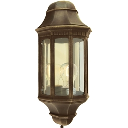 Elstead M8 BLK/GOLD Malaga Flush Half Lantern in Black/Gold finish.