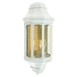 Elstead M8 WHITE Malaga Flush Half Lantern in White Finish.