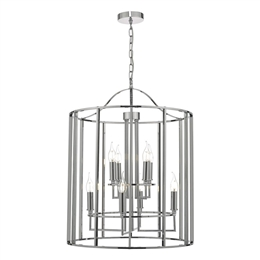 Dar MYK0850 Myka 8 Light Lantern in Polished Chrome finish