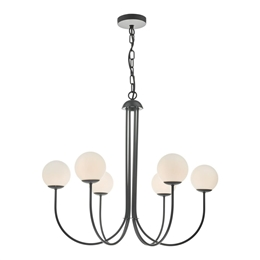 Dar Lighting ORN0622 Ornella 6 Light Pendant with Opal Glass