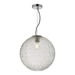 Dar Lighting OSS8608 Ossian Large Clear Glass Pendant