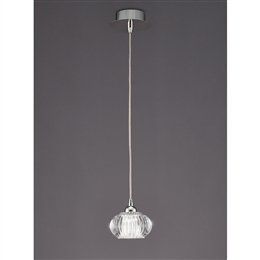 Hull Lighting PCH117 Tizzy 1 Light Pendant in Chrome finish with clear glass.