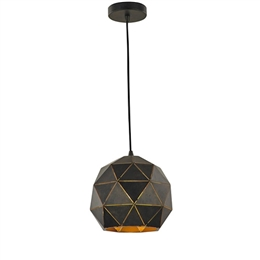 Hull Lighting PCH153 Tangent Small Pendant in Black Brushed Gold Finish