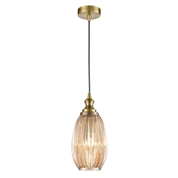 Hull Lighting PCH208 Refract Pendant with Amber Glass and Bronze Finish.