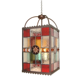 Kansa PER496 Period Multi Coloured Stained Glass Lantern