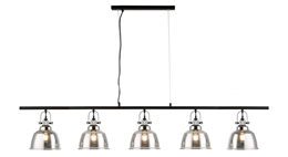 Impex PG1810/05/LIN/SMK 5 Light Bar Pendant with Smoked Glass Shades