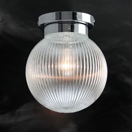 Kansa PRISM428 Prismatic Globe Flush Ceiling Light with Etched Glass